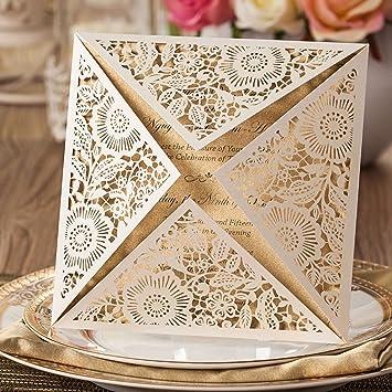 Wishmade Einladungskarten Für Hochzeit Geburtstag Taufe Party Weiß Blumen  Lasercut Spitze Design Blanco Set 50 Stücke