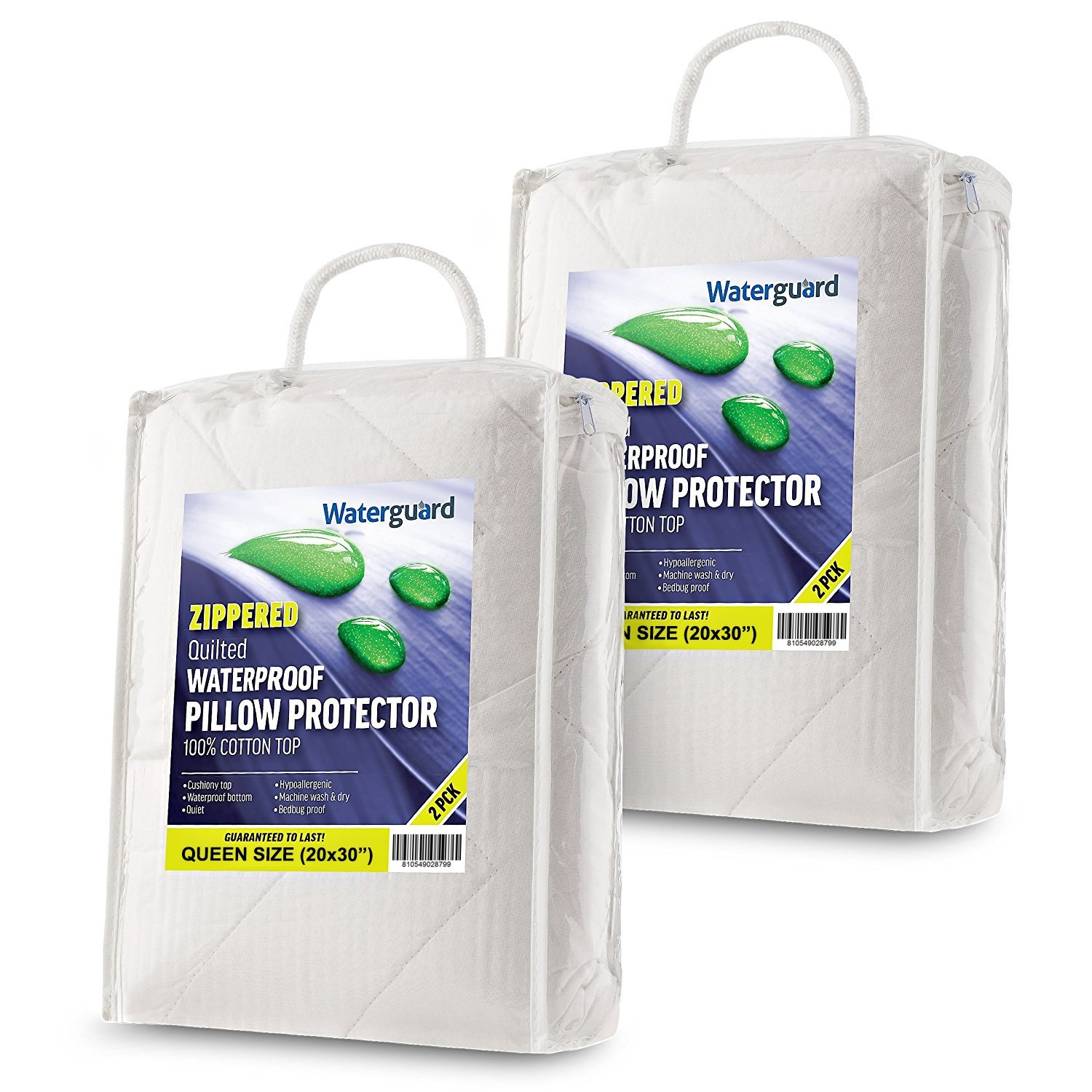 Waterguard Waterproof Pillow Protectors Bed Bug Control, Zippered Quilted, Thick Pillow Covers, (4 Pack) 100% Cotton Cover Pillow Encasement - King Size (20x36) Set of 4