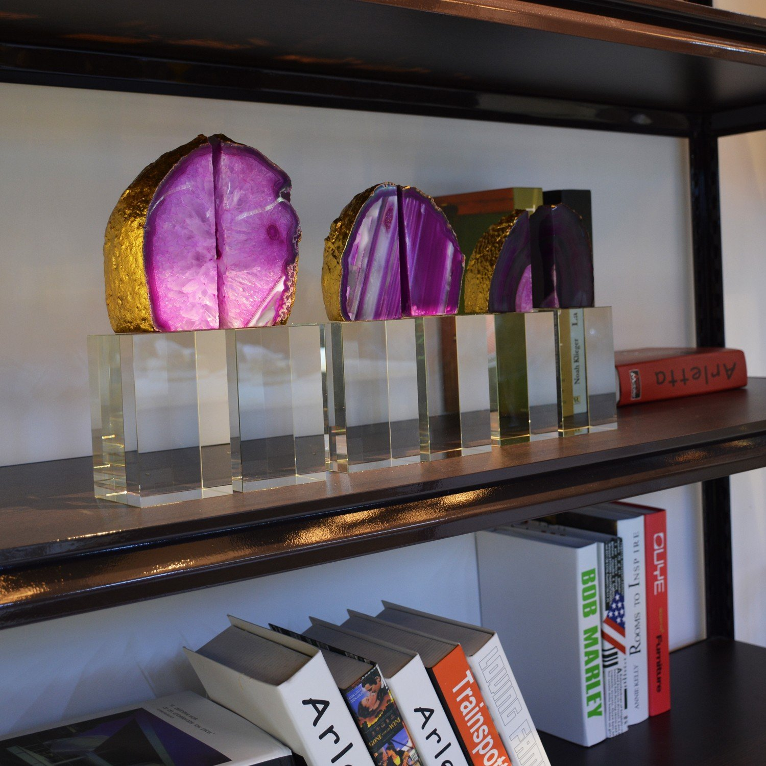 BRLIGHTING Crystal and Agate Bookends Heavy Duty in Purple 12.5 lbs BRAC4108 for Office Shelves and Desk Set of 2