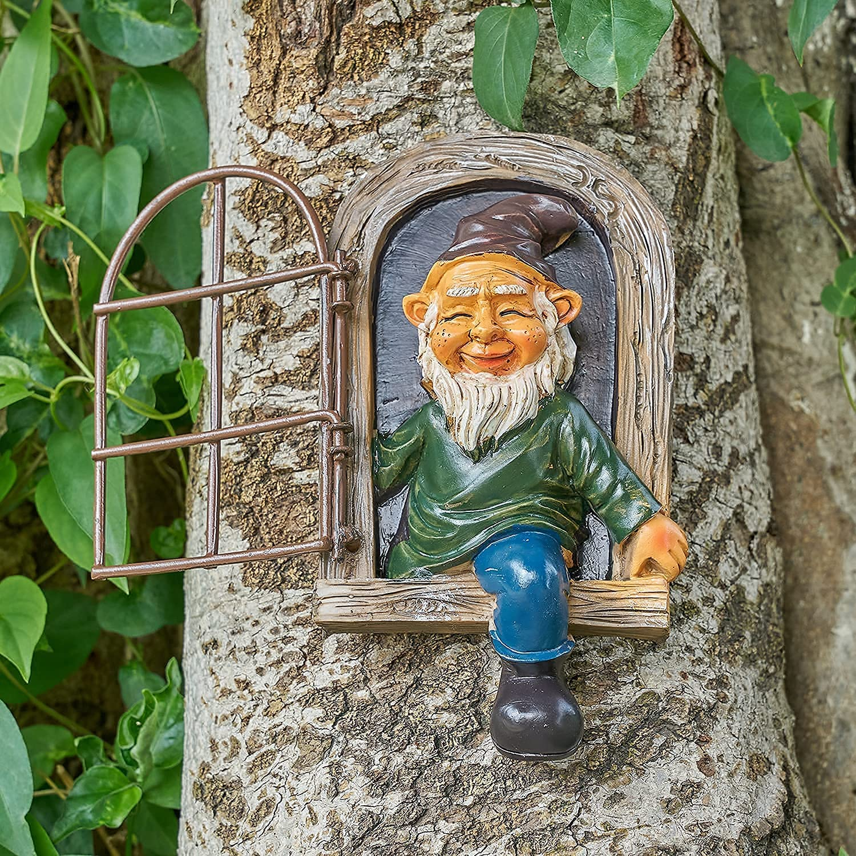 LUOWAN Garden Gnome Statue /Elf Out The Door Tree Hugger/ Garden Peeker Yard Art- Whimsical Tree Sculpture Garden Decoration