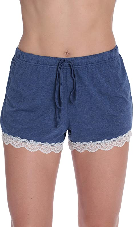 #followme Ultra Soft Stretch Jersey Pajama Shorts w//Lace Trim /& Back Pocket