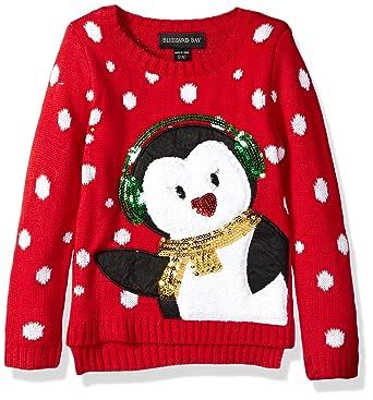 blizzard bay little girls earmuff penguin xmas sweater red combo