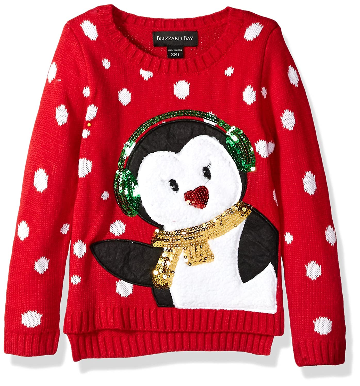 Blizzard Bay Girls' Earmuff Penguin Xmas Sweater Fashion Avenue Girls 7-16 G65286