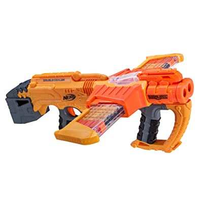 Nerf Doomlands Blaster Double Dealer Toy Blaster with Two 12-Dart Clips & 24 Official Elite Darts for Kids, Teens, & Adults, Orange, Standard: Toys & Games