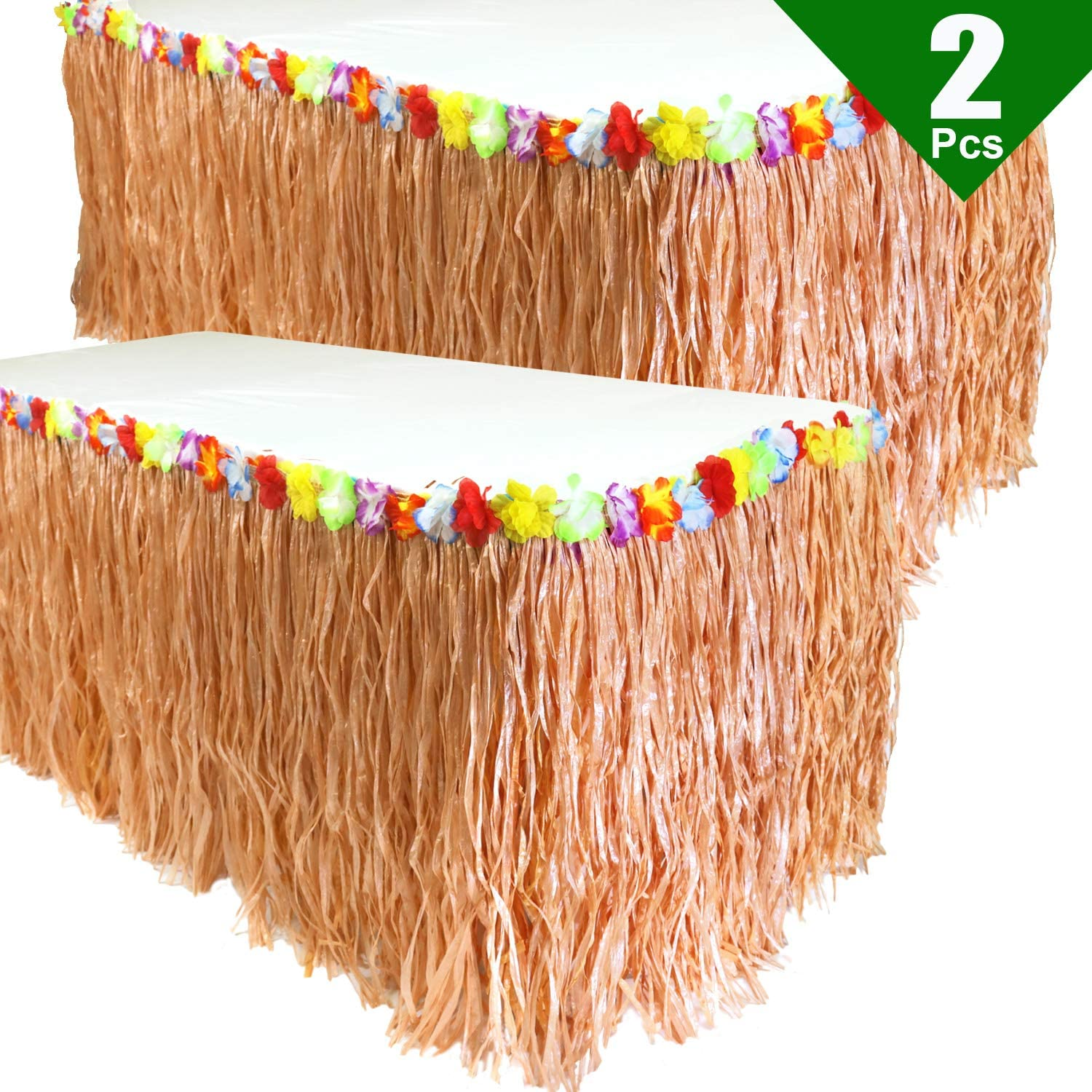GiftExpress Pack of 2, 9 feet X29 Luau Grass Table Skirt, Hawaiian Luau Libiscus Table Skirt for Hawaiian Party, Luau Party Supplies, Luau Party Decorations, Moana Birthday Party (Natural Hay Grass)