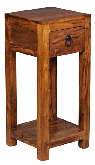 Beistelltisch mit schublade modern  WOHNLING Beistelltisch Massiv-Holz Sheesham 68cm hoch Wohnzimmer ...