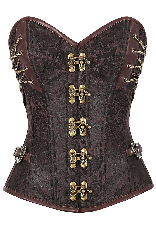 r-dessous Hochwertige Vintage Corsage Corsett braun Gothic Bustier ...