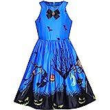 Mädchen Kleid Halloween Witch Schläger Kürbis Kostüm Halfter Kleiden Gr. 116-158