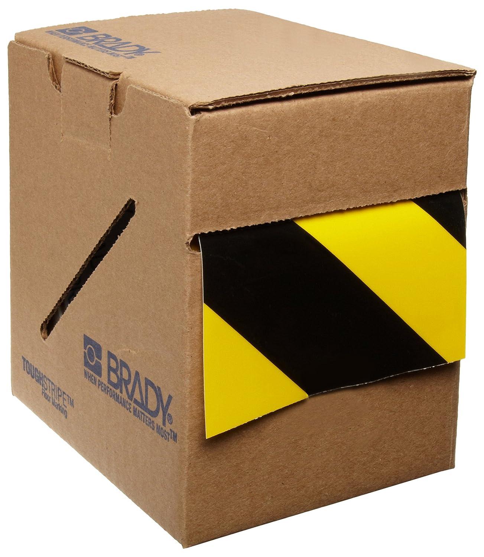 Brady ToughStripe Nonabrasive Diagonal Stripes Floor Marking Tape, 100' Length, 4' Width, Black and Yellow (Pack of 1 Roll) 100' Length 4 Width 104377