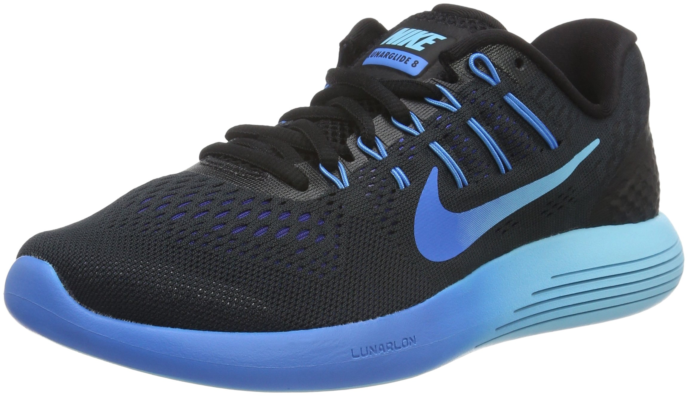 Nike Womens LunarGlide 8 OC Running Shoe Black/Multi Color/Deep Royal Blue 9 B(M) US