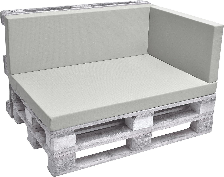Beautissu Eco Pure Cojín Lateral para palés Acolchados Tapicerías In/Outdoor Europalés 70x40x8cm Gris Claro