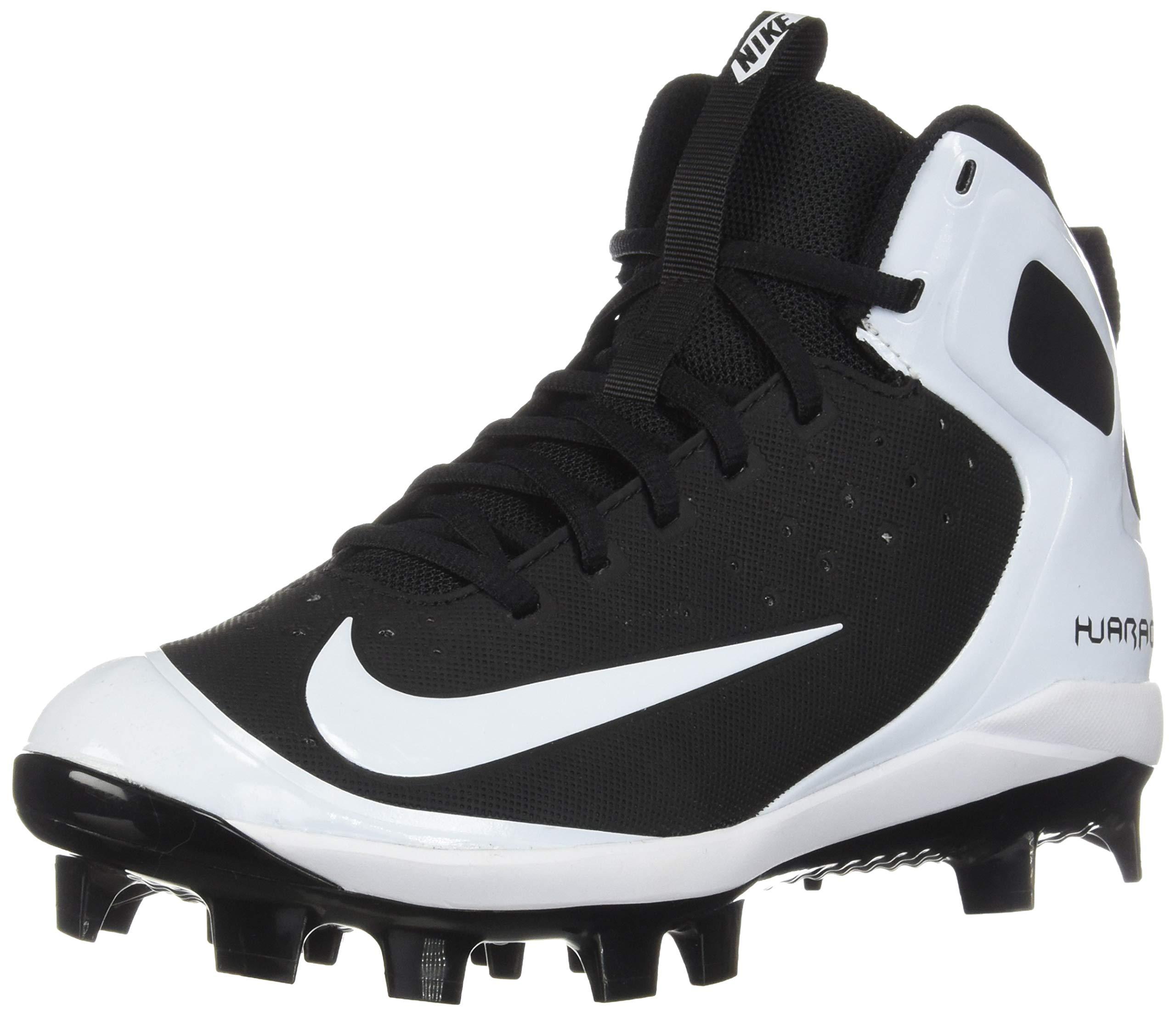 Nike Kids' Alpha Huarache Pro Mid Baseball Cleats(Black/White, 2.5 Little Kid M) by Nike