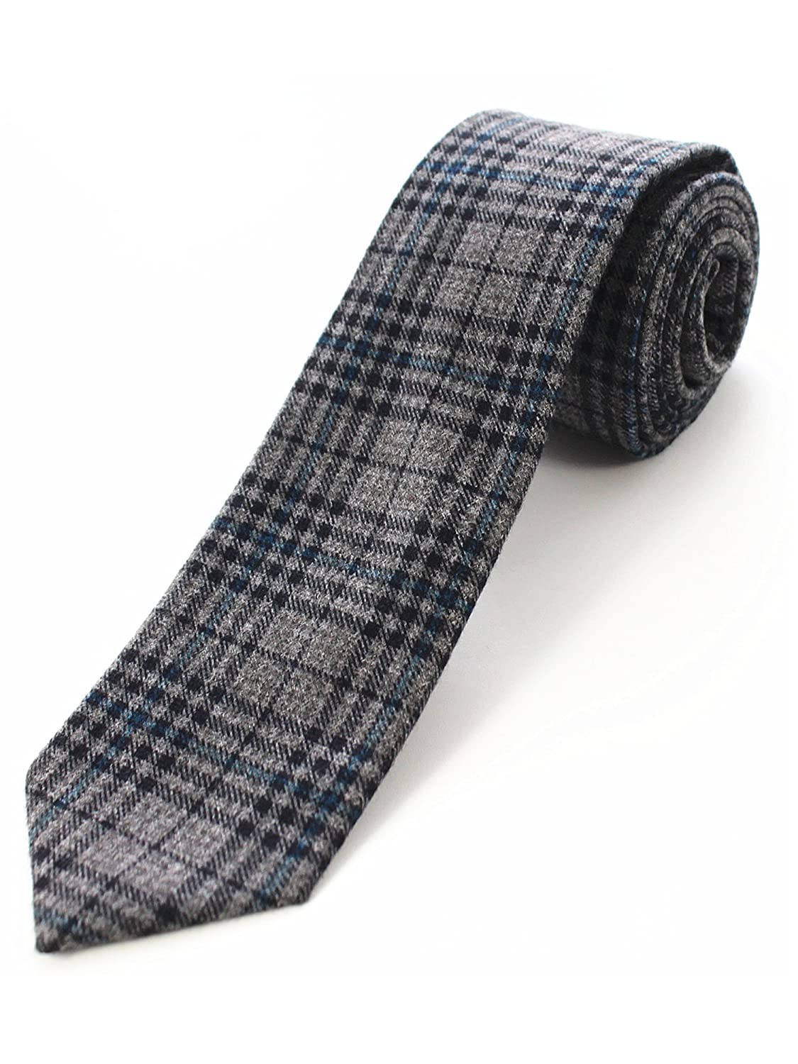 JEMYGINS 2.4 Mens Cotton Skinny Tie Plaid Striped Cashmere Wool Necktie