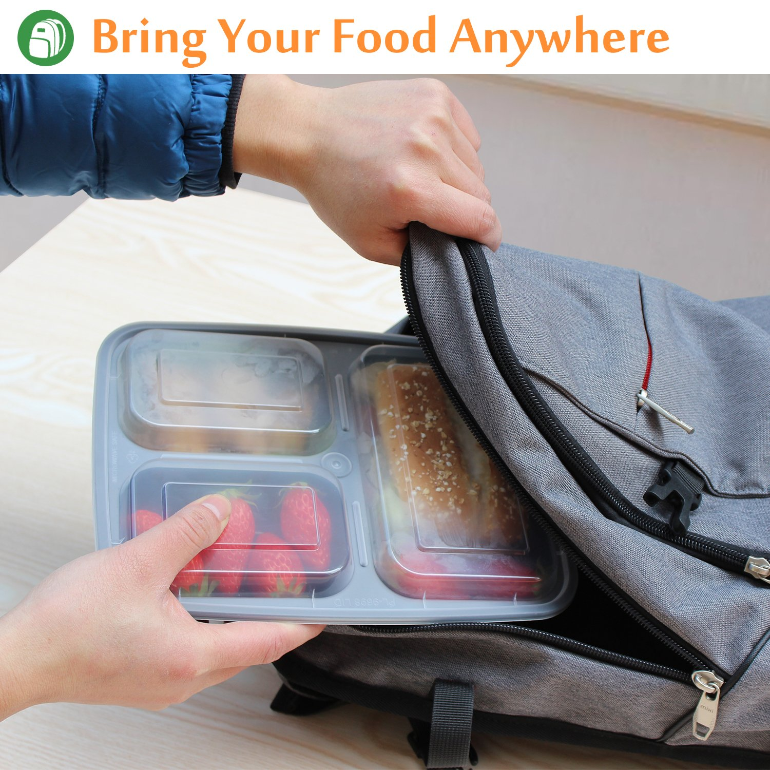 Enther Meal Prep Containers [20 Pack] 3 Compartment with Lids, Food Storage Bento Box   BPA Free   Stackable   Reusable Lunch Boxes, Microwave/Dishwasher/Freezer Safe,Portion Control (36 oz) by Enther (Image #3)