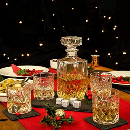 Juego de 4 vasos de vaso y decantador de whisky | Vasos y Decantadores | Juegos de vasos de whisky | Jarra y decantador de alta calidad | Idea de regalo de alcohol | M&W
