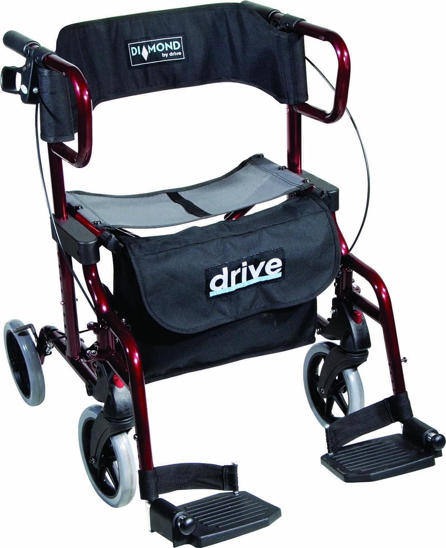 Drive Medical Diamond Deluxe - Silla de rueda, con reposapiés, color negro y rojo