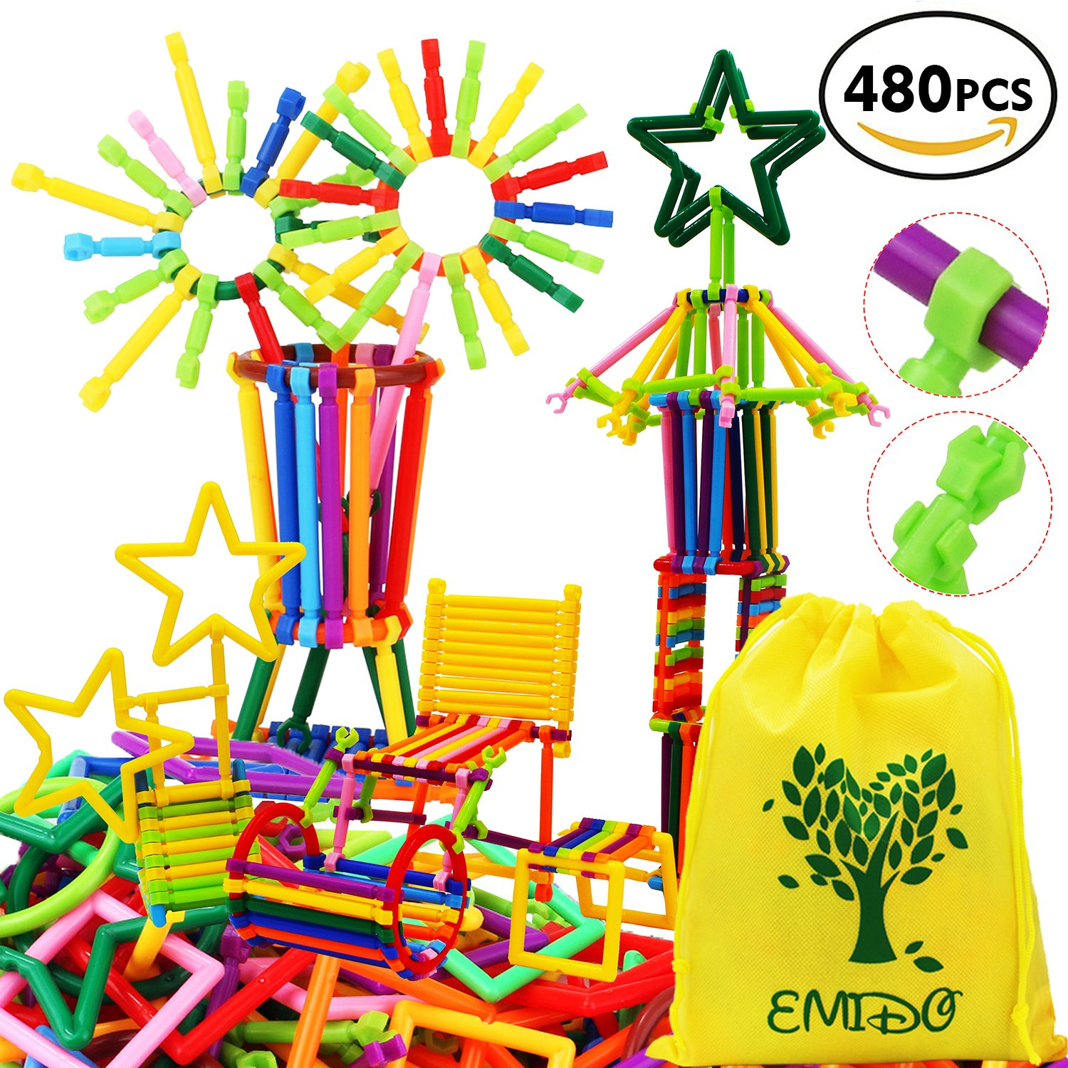 EMIDO 480 Pcs Building Toy Building Blocks Bars Different Shape Educational Construction Engineering Set 3D Puzzle , Interlocking Creative Connecting Kit, A Great STEM Toy for Both Boys and Girls! Review