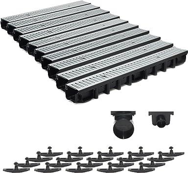 komplett Schwarz Line 10m Entwässerungsrinne für modulares System A15 98mm