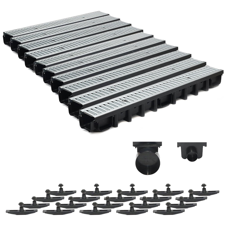 10m Entwässerungsrinne Terrassenrinne Stahlrost verzinkt komplett SET, System A15 98mm