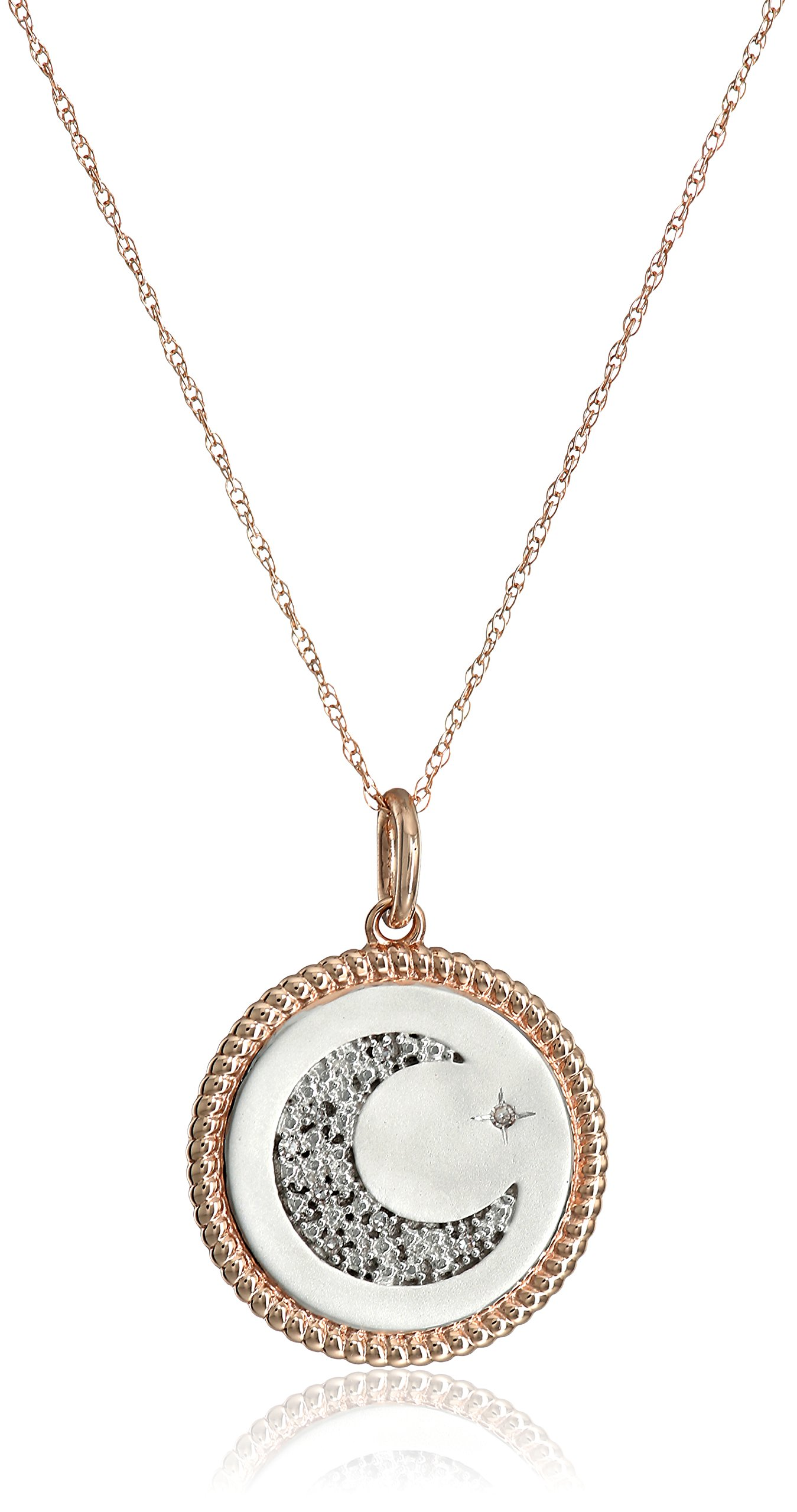 10k Rose Gold Diamond Accent ''I Love You To The Moon and Back'' Pendant Necklace, 18'' by Amazon Collection (Image #1)