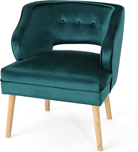 Christopher Knight Home Mariposa Mid-Century Velvet Accent Chair, Teal Natural