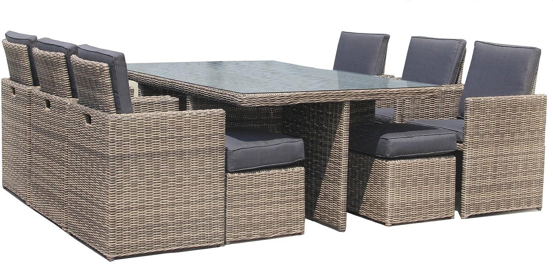 Luxurygarden - Mesa 10 Plazas con 6 sillones de Rattan ...