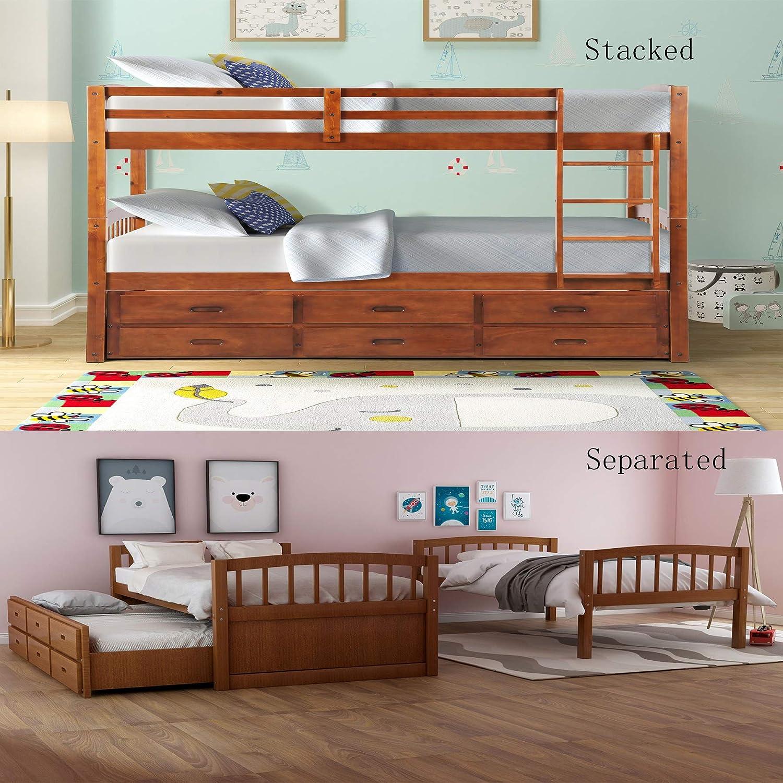 Dercas - Litera de madera doble desmontable con cajón, 3 cajones, escalera y rieles de protección en la litera superior: Amazon.es: Juguetes y juegos