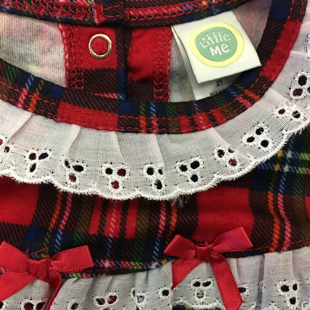 Little Me Gown Girls Christmas Pajamas Red Plaid Nightgown