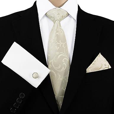 b59a767c79d2 GASSANI 3- Set Beige Krawatte   Einstecktuch Manschettenknöpfe-Binder  Schmale Kravatte zum Anzug Verlobung