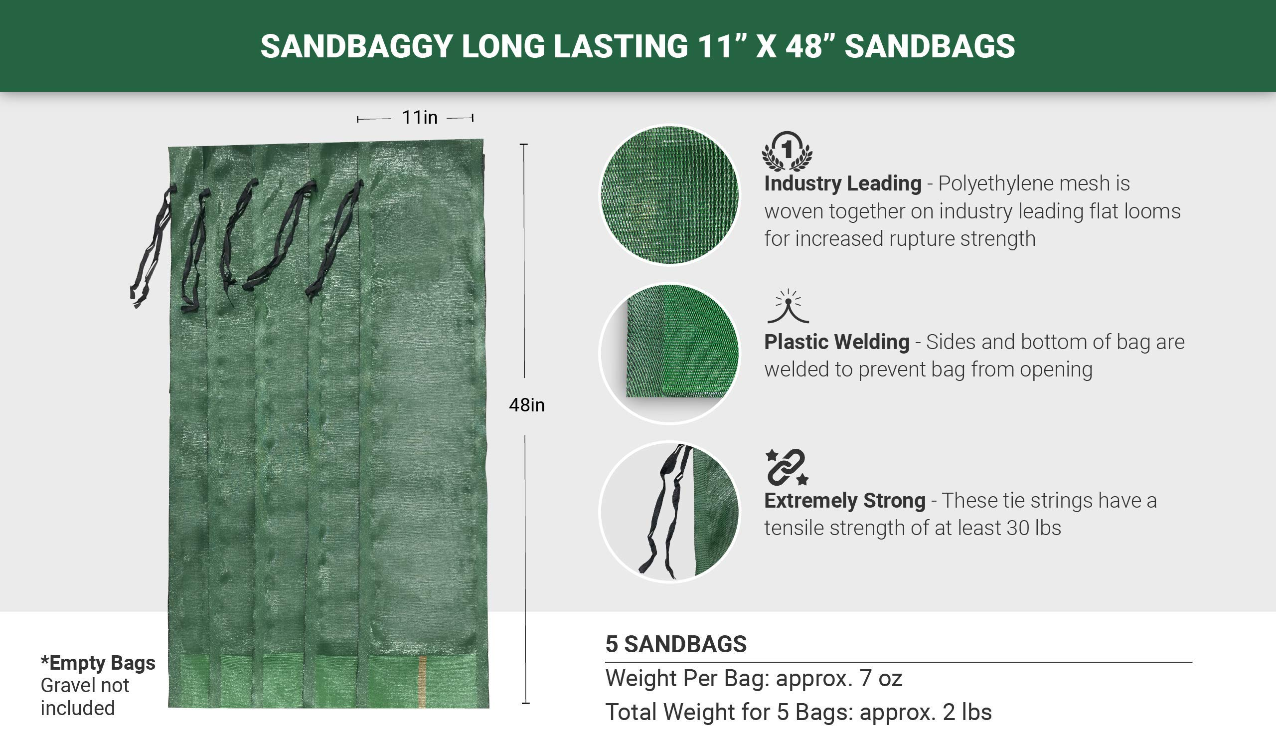 Sandbaggy - 11'' x 48'' Long-Lasting Sandbags - Lasts 1-2 Yrs - Sandbags for Flooding - Monofilament - Sand Bag - Flood Water Barrier - Water Curb - Tent Sandbags - Store Bags (Pack of 5) by Sandbaggy