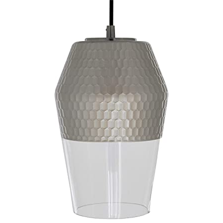Rivet Mid Century Modern Honeycomb Ceiling Pendant Chandelier – 7 x 7 x 30 Inches, Brushed Nickel and Glass
