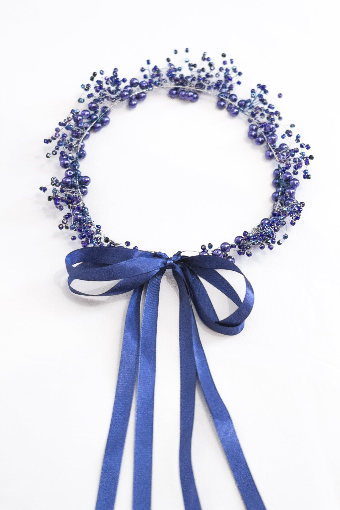 Blue Beaded Bridal Crown
