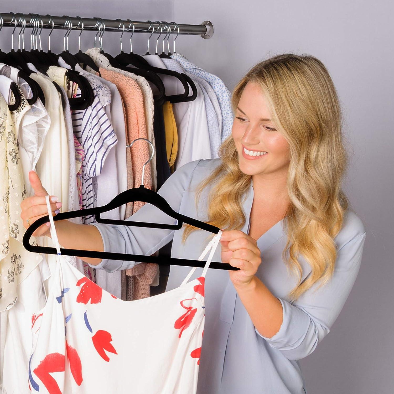 Solid Black Ultra Thin Space Saving Design for Men and Women Dress Suit 50 pcs Set CRESNEL Non-Slip Velvet Clothes Hangers