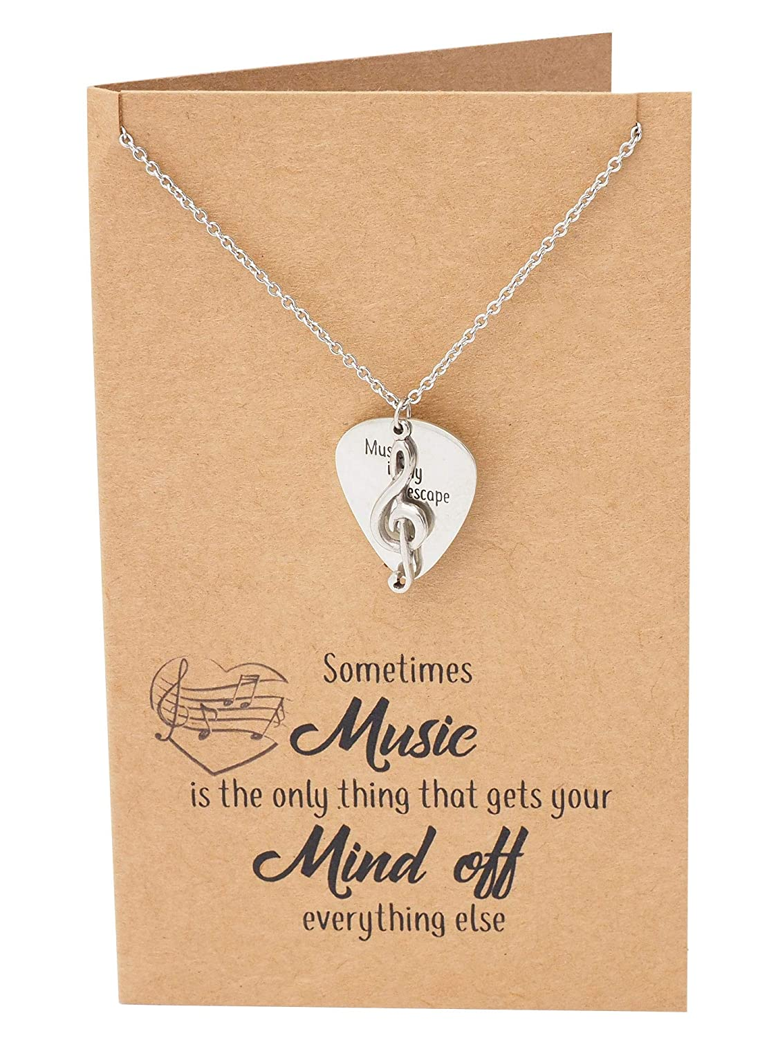 3a61718c1 Amazon.com: Quan Jewelry Music Gifts for Women Guitar Thumb Pick and Treble  Clef Pendant, Musician Necklace with Greeting Card: Jewelry