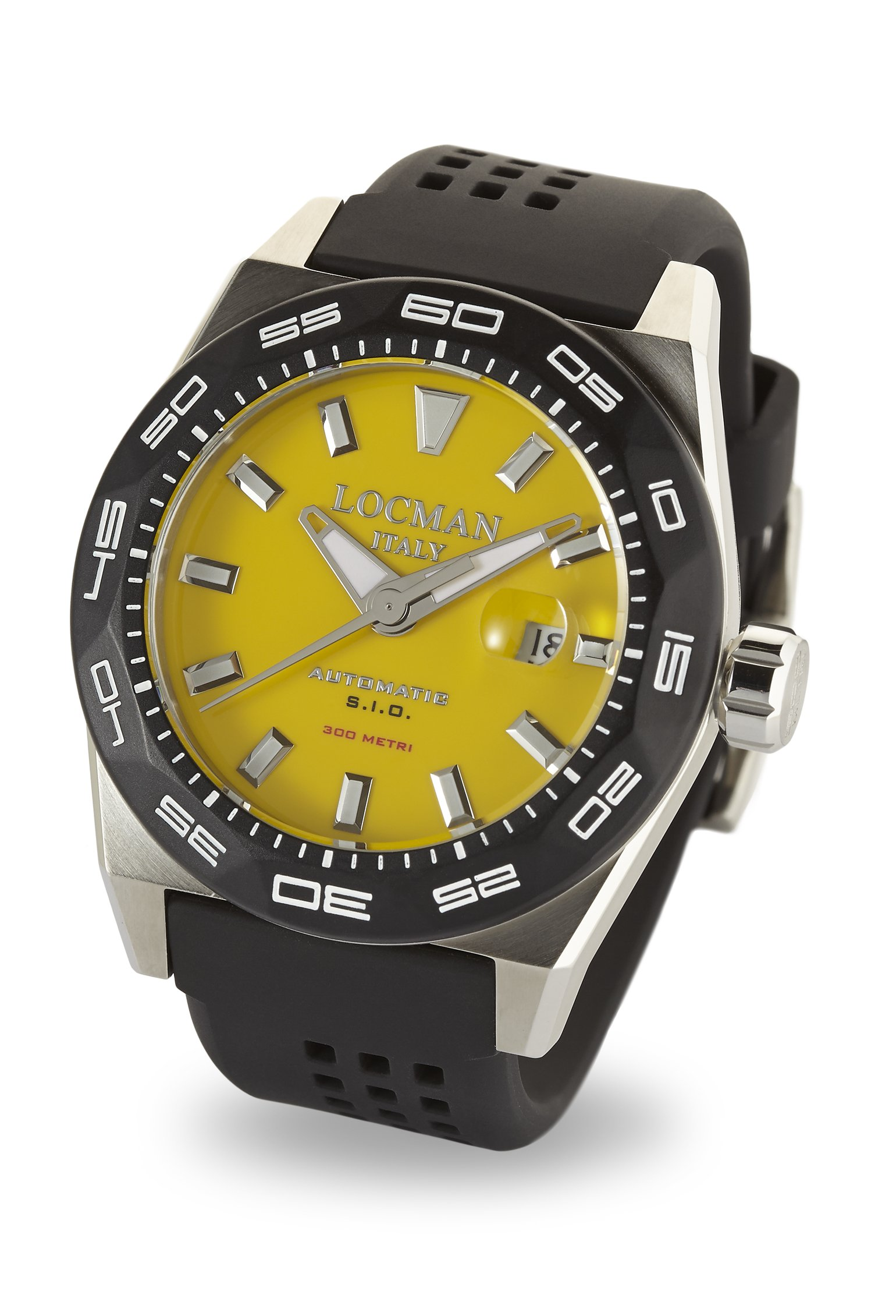 Locman Italy Men's 'Stealth 300 Metri' Automatic Stainless Steel and Rubber Diving Watch, Color:Black (Model: 0215V2-0KYLNKS2K)