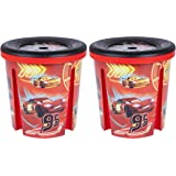 2 Pack Of Disney Cars 45 Litre Storage Boxes For Toys Games Clothes Waste Paper Rubbish. Depicts Multiple Cars Characters Including Lightning McQueen.