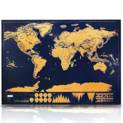 Amazon geekercity scratch off world map poster large geekercity scratch off world map poster large scratchable travel tracker adventure vacation map perfect deluxe gift gumiabroncs Gallery