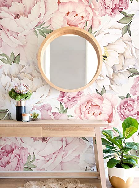 peony flower mural wall art wallpaper mixed pink by simple