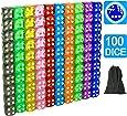 100個セット16mm ラウンドコーナー ク透明6面ダイス 10色 各10個(合計100個)セット\1個大きなベルベットバッグ付き サイコロ