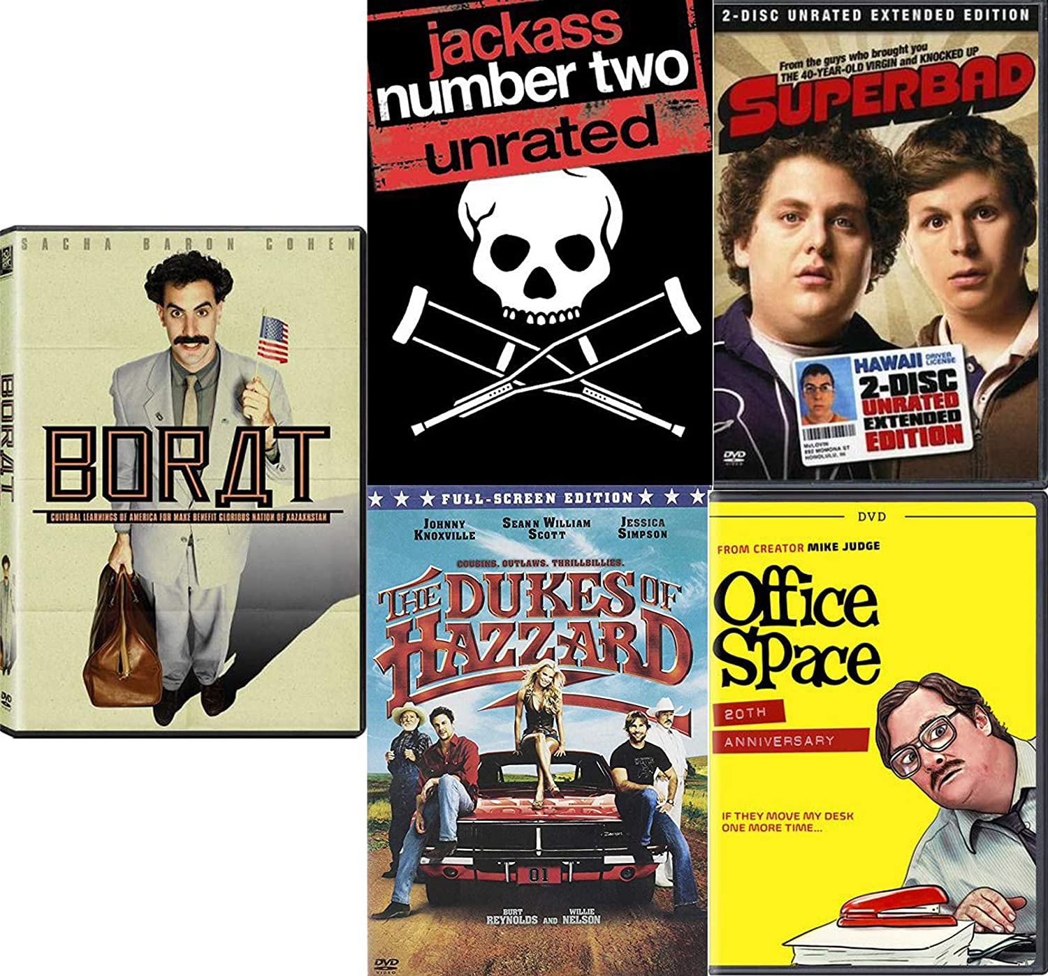 Outlaws Jerks & Freakin' Funny stuff Jackass Number Two (Unrated) and The Dukes of Hazzard / Superbad / Borat / Office Space 5-Movie Pack Ridiculous DVD Bundle