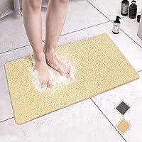 "MAPLEZ Non-Slip Bath Mat for Tub Shower Mat Bathtub Mat for Wet Areas Quick Drying 24""x16"" Beige"