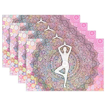 Amazon.com: GPUnfdvc Woman Yoga Mandala Flowers Placemat ...