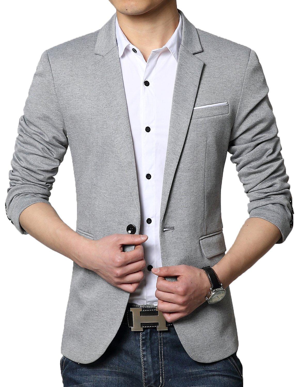 DAVID.ANN Men's Casual Slim Fit One Button Center Vent Blazer Jacket,Grey #3625,Large