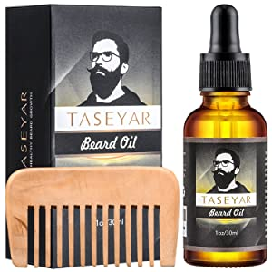 Beard Oil and Comb Kit, TASEYAR 100% Natural Beard Conditioning Oil for Men, Unscented Leave-in Conditioner Softener, with Vitamin E for Beard Care & Growth -30 ml Gift Set
