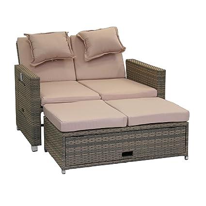 Greemotion Rattan Lounge Bahia Twin Sofa Bett Aus Polyrattan Indoor Outdoor 2er Garten Sofa Mit Stahl Gestell Daybed Zweigeteilt Grau Bicolor