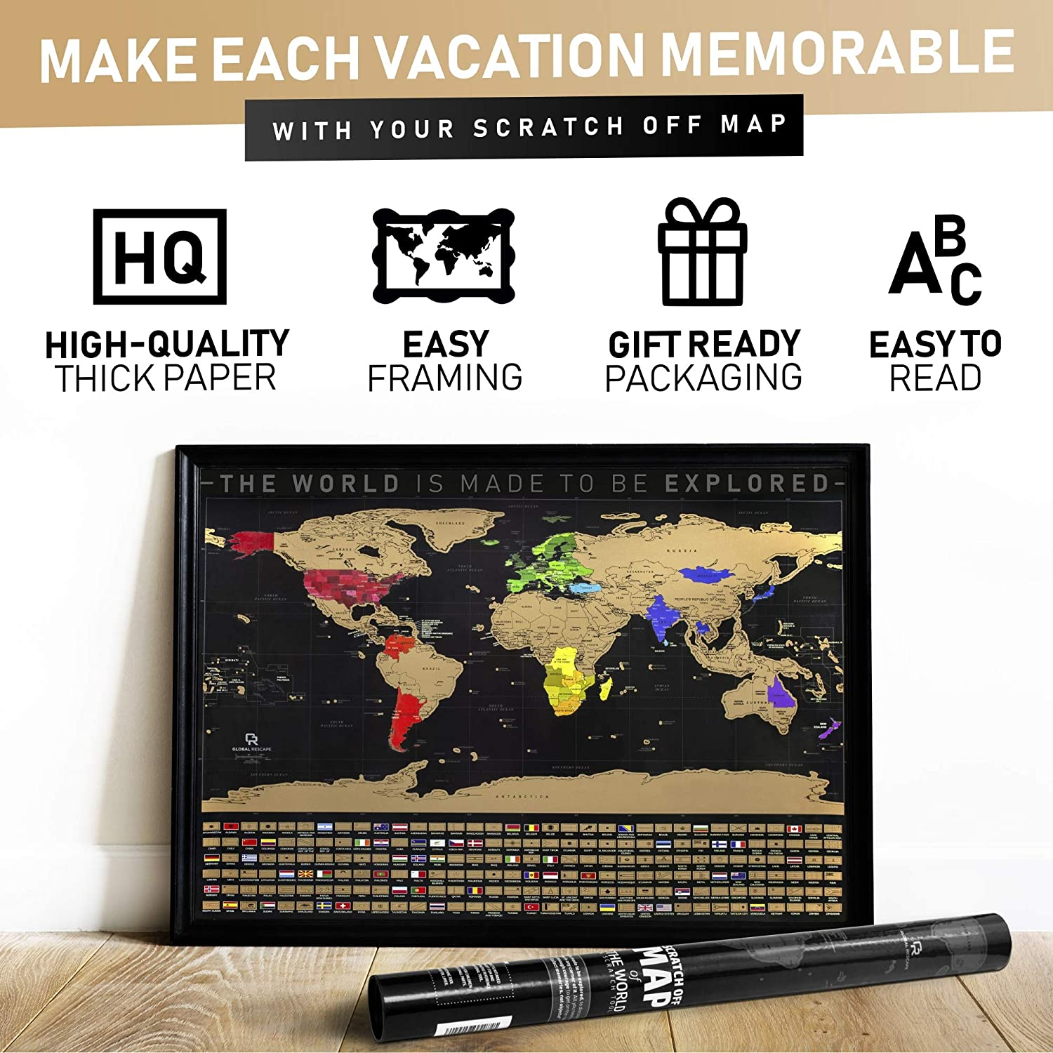 Amazon.com: Scratch Off Map of the World - Gold Foil Black ...
