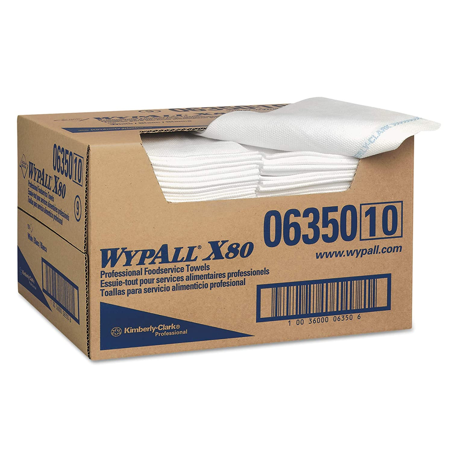 WypAll 06350 X80 Foodservice Paper Towel, Spunlace, 13 1/2 x 24, White (Case of 150)