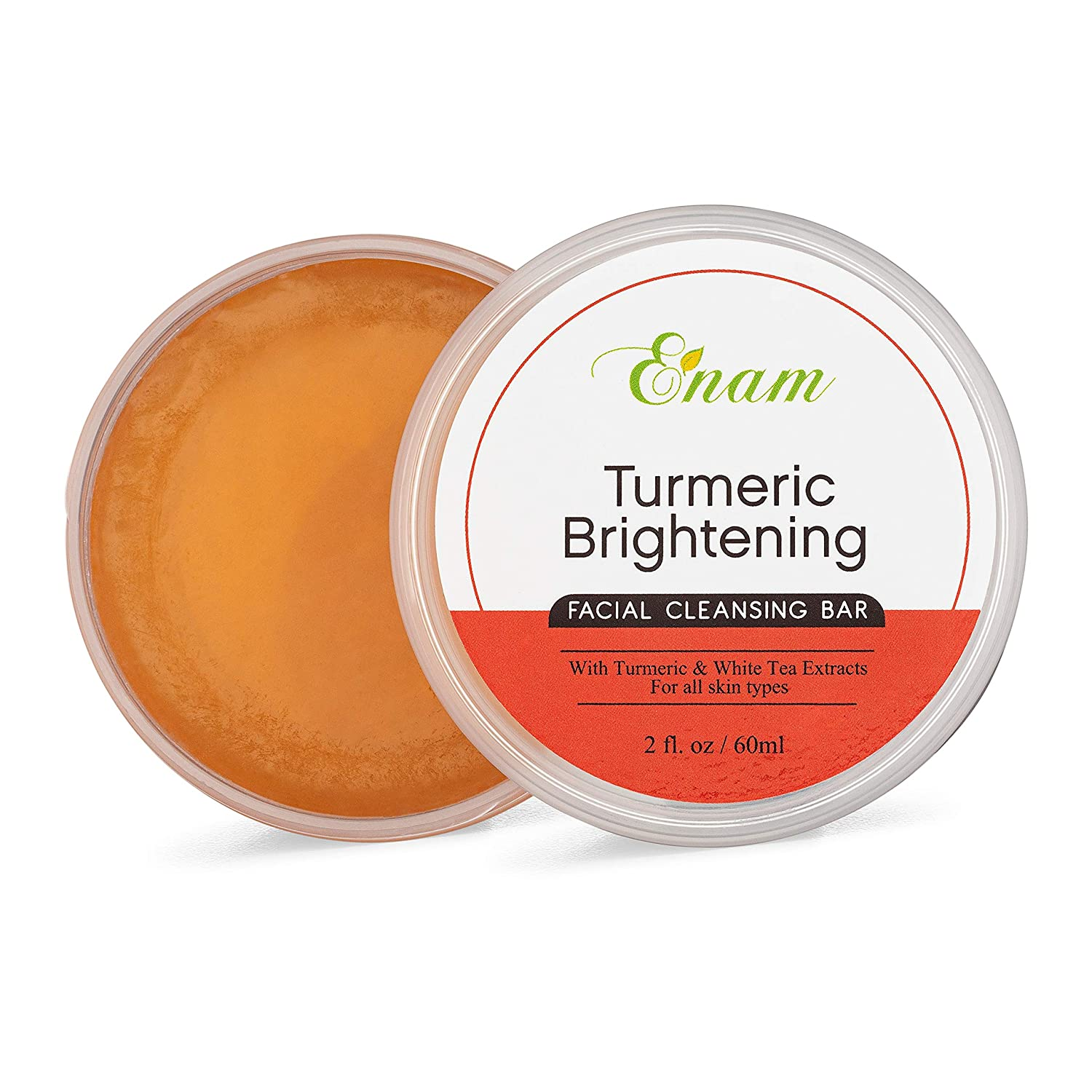 Enam Turmeric Brightening Facial Cleansing Bar - Natural Glow, Gentle Cleansing & Moisturizing Face Cleanser: Beauty