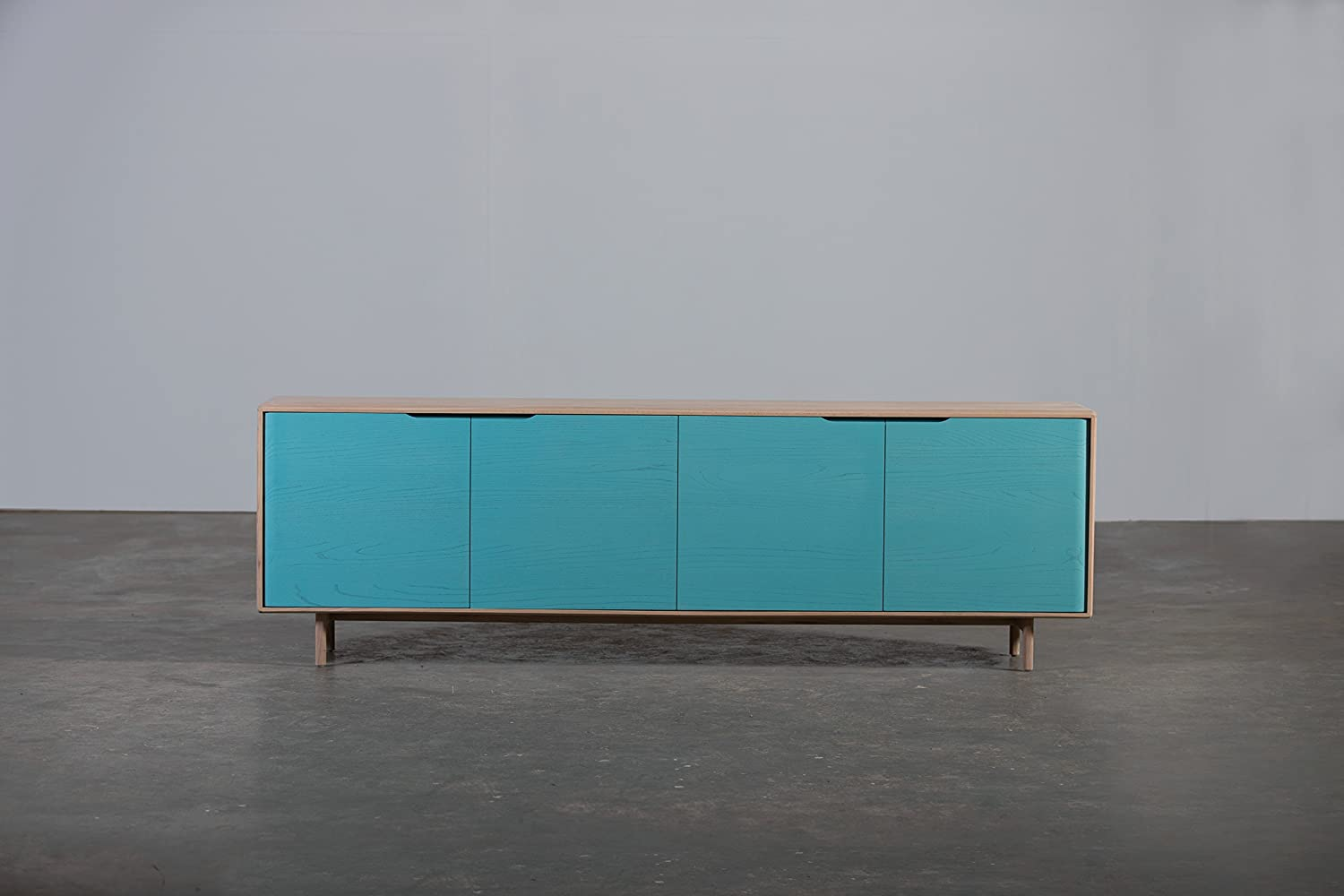Invito Holz Sideboard Front Turkis 240x42x75 Cm Ulme Massiv