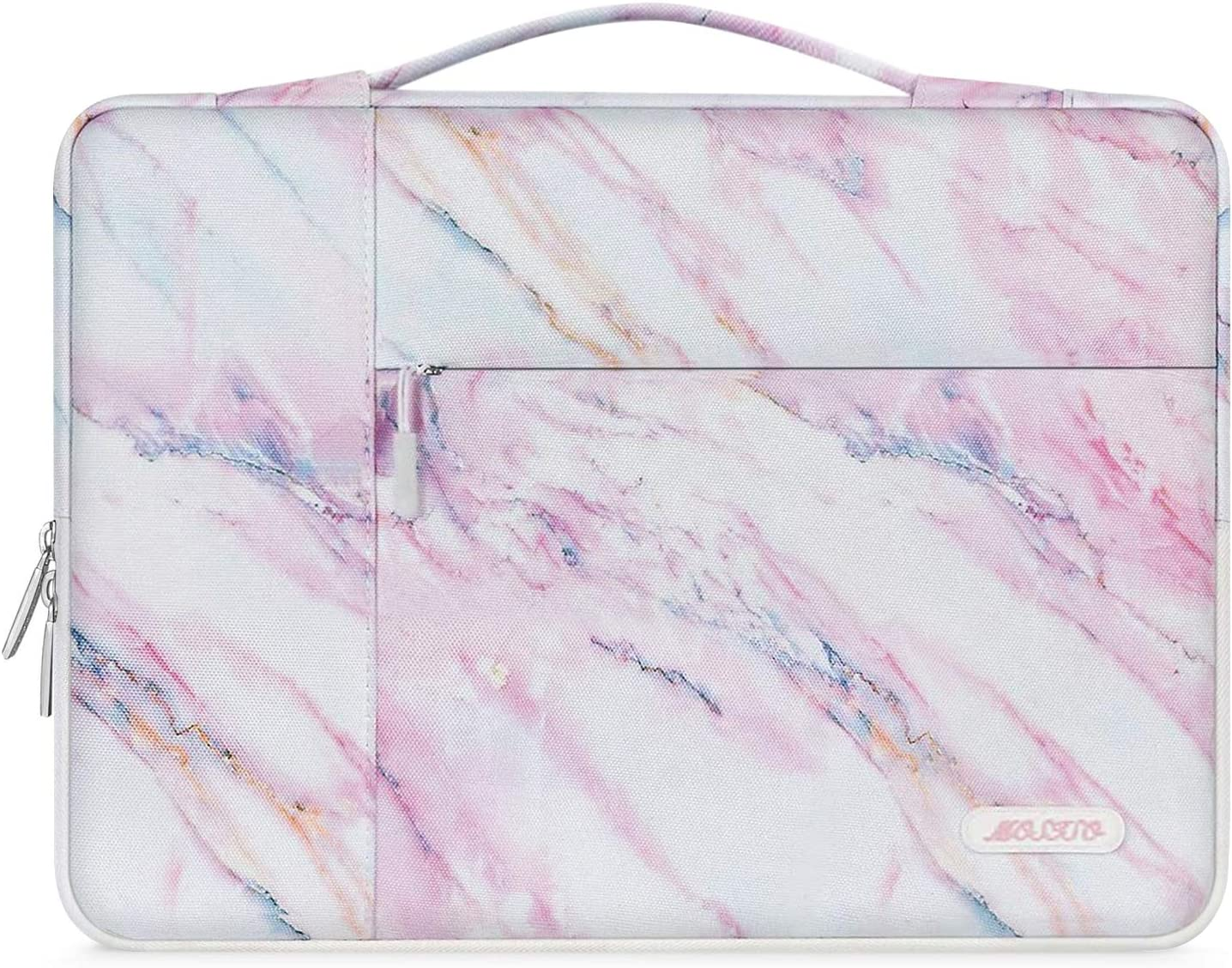 MOSISO Laptop Sleeve Compatible with 13-13.3 inch MacBook Air, MacBook Pro, Notebook Computer, Polyester Pattern Multifunctional Briefcase Carrying Bag, Pink Marble